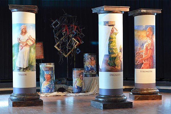 7 foot pillars and other elements of the Courage Ablaze installation