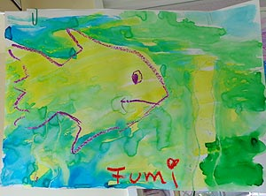 Watercolor and crayon painting of fish