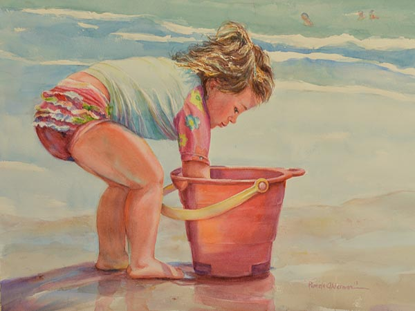 The Red Pail - Watercolor painting by Pamela Alderman