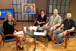 Pamela and other guests with Shelley Irwin in the TV studio