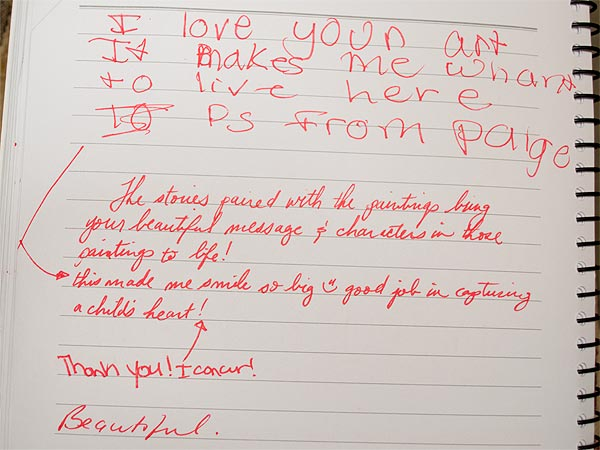 Notes in guestbook at ArtPrize 2013