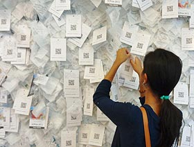 Business card note being hung after wall was full