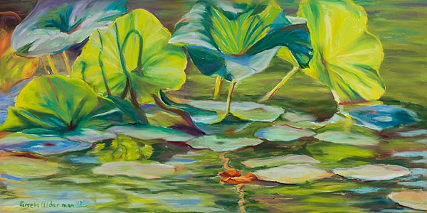 Water Lilies pastel painting