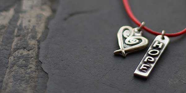 Hope charms on scarlet cord nacklace