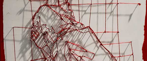 Tethered - String art - Part of The Scarlet Cord installation