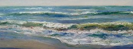 Waterscape, Pamela Alderman, Oil on canvas, 40 x 16 inches, 2016