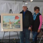 Ada Arts Council members, George Haga and Phil Vogelsang, and Pamela with finished work