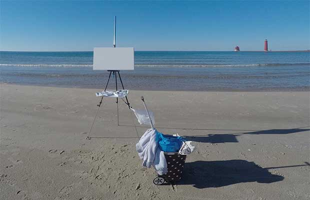 Blank canvas on easel at Lake Michigan beach in Grand Haven, MI